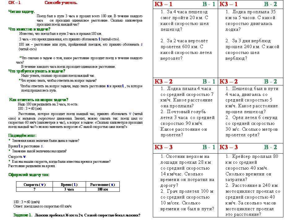 Карточки с задачами на движение 4 класс